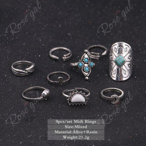 Shops Crucifix Leaf Moon Arrow Finger Ring Set - SILVER  Mobile