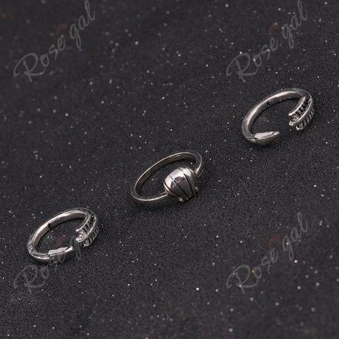 Best Crucifix Leaf Moon Arrow Finger Ring Set - SILVER  Mobile