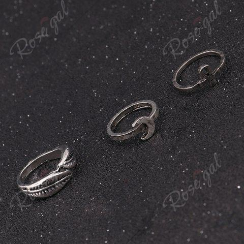 New Crucifix Leaf Moon Arrow Finger Ring Set - SILVER  Mobile