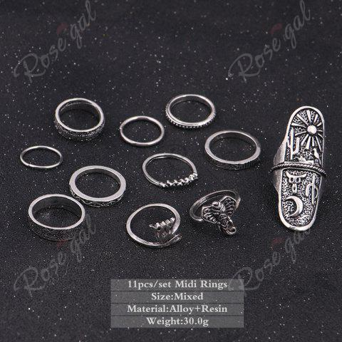 Outfit Elephant Moon Sun Full Finger Ring Set - SILVER  Mobile