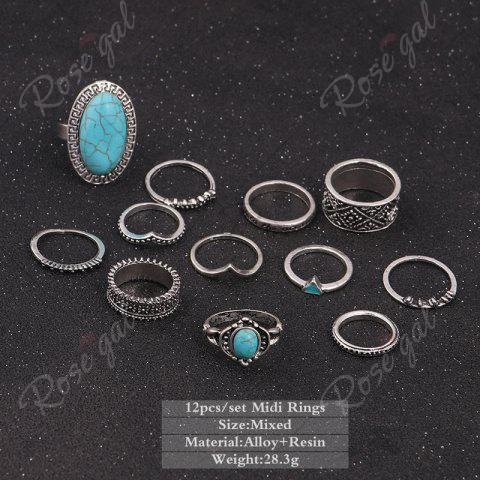 Online Faux Turquoise Oval Boho Ring Set - SILVER  Mobile