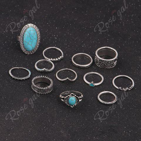 New Faux Turquoise Oval Boho Ring Set - SILVER  Mobile