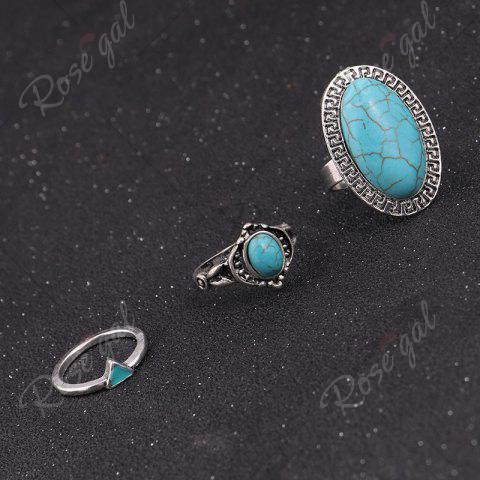 Best Faux Turquoise Oval Boho Ring Set - SILVER  Mobile