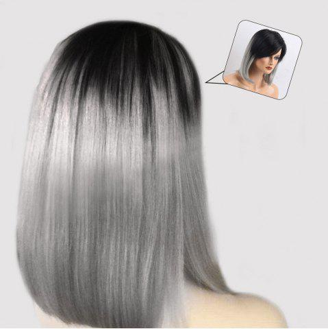New Medium Inclined Bang Ombre Straight Bob Human Hair Wig - COLORMIX  Mobile