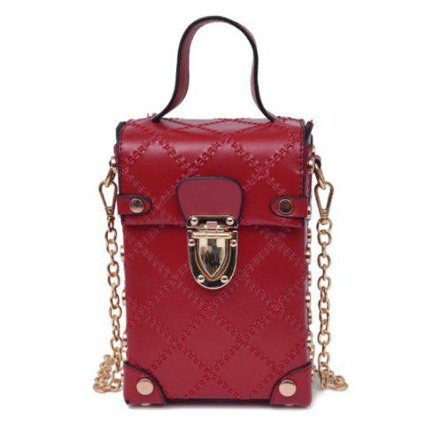 Sale Stitching Cross Body Chain Bag - RED  Mobile
