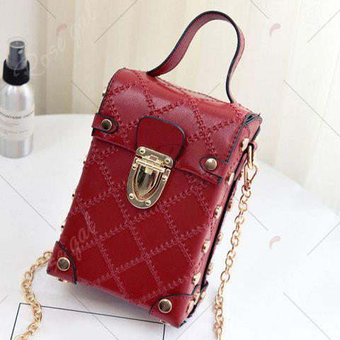 Online Stitching Cross Body Chain Bag - RED  Mobile
