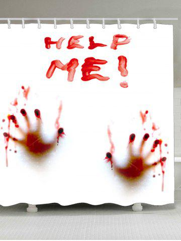Bloody Help Me Handprint Waterproof Shower Curtain