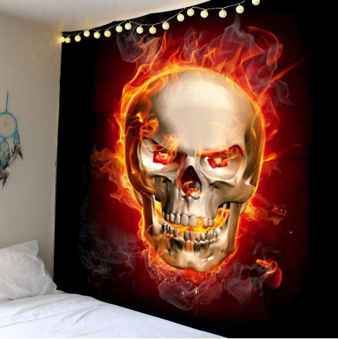 Home Decor Skull in Fire Wall Hanging Tapestry - Wine Red - W59 Inch * L59 Inch