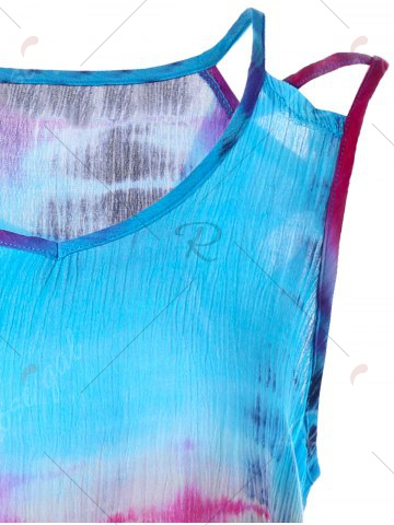 Shop Tie-Dyed Print Sleeveless Baggy Blouse - XL COLORMIX Mobile
