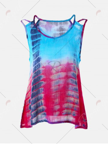 Online Tie-Dyed Print Sleeveless Baggy Blouse - XL COLORMIX Mobile