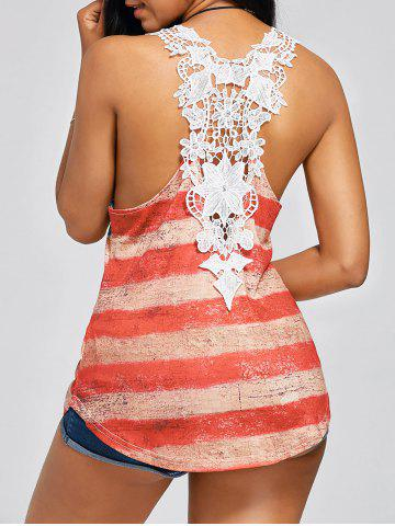Sale American Flag Patriotic Lace Back Racerback Tank