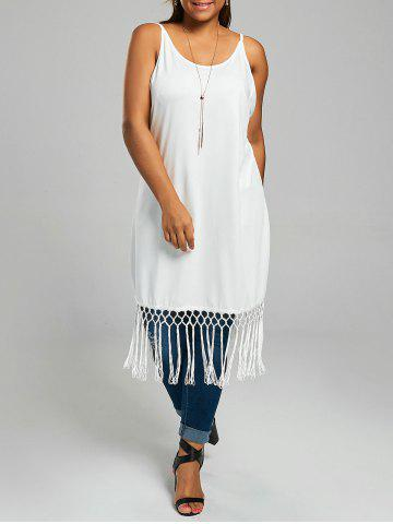 Plus Size Long Cami Top with Tassel Trim - White - Xl