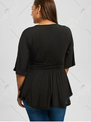 Store V Neck Plus Size Dressy Peplum T-shirt - 2XL BLACK Mobile