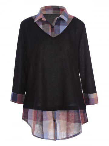 Plus Size Plaid Shirt Collar Long Sleeve Top - Black - 3xl