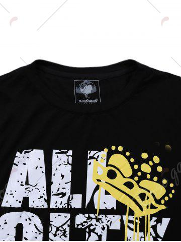 Outfits Short Sleeve Distressed Graphic Print T-shirt - M BLACK Mobile