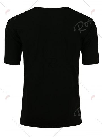 Discount Short Sleeve Distressed Graphic Print T-shirt - M BLACK Mobile