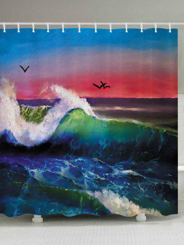 Ocean Wave Sunset Print Fabric Waterproof Bathroom Shower Curtain - Colorful - W71 Inch * L79 Inch
