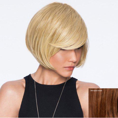 Best Short Inclined Bang Straight Bob Human Hair Wig - AUBURN BROWN #30  Mobile