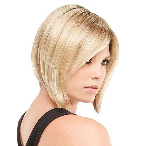 Best Short Inclined Bang Straight Inverted Bob Human Hair Wig - BLONDE  Mobile
