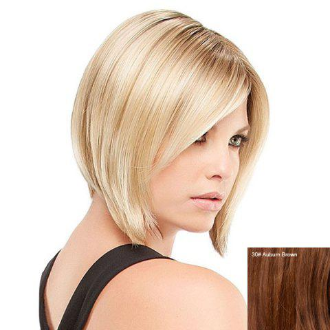 Courte incliné Bang Straight Inverted Bob perruque de cheveux humains 30#