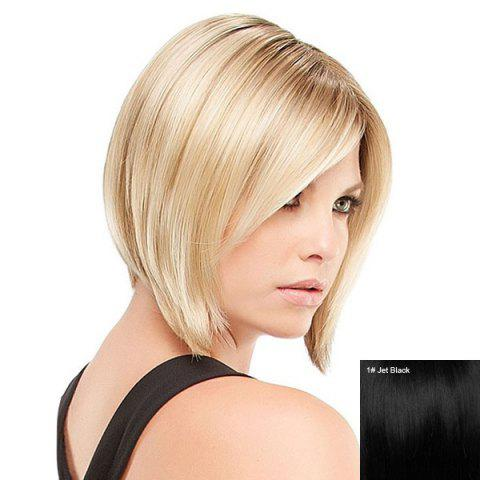 Discount Short Inclined Bang Straight Inverted Bob Human Hair Wig - JET BLACK  Mobile