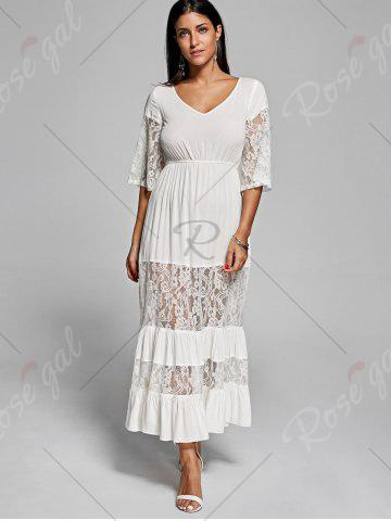 Fancy Lace Insert V Neck Flowing Dress - 2XL OFF-WHITE Mobile
