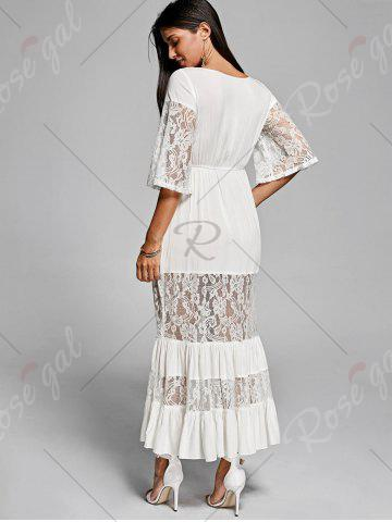 Hot Lace Insert V Neck Flowing Dress - 2XL OFF-WHITE Mobile