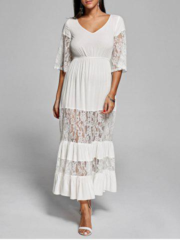 Lace Insert V Neck Flowing Dress - Off-white - 2xl