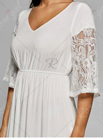 Best Lace Insert V Neck Flowing Dress - 2XL OFF-WHITE Mobile
