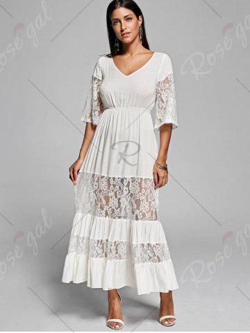 Outfit Lace Insert V Neck Flowing Dress - L OFF-WHITE Mobile