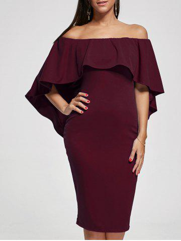Chic Off Shoulder Capelet Bodycon Cocktail Dress WINE RED M