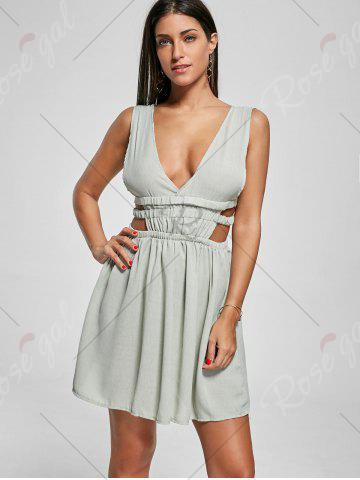 New Plunge Mini Cut Out Skater Dress - S GREEN Mobile