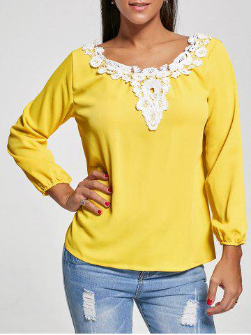 Lace Applique Top - Yellow - S