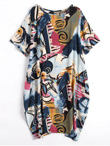Plus Size Fun Graphic Baggy Dress with Pockets - Deep Blue - Xl