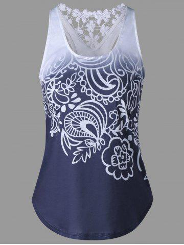 Trendy Lace Insert Ombre Printed Tank Top PURPLISH BLUE 2XL