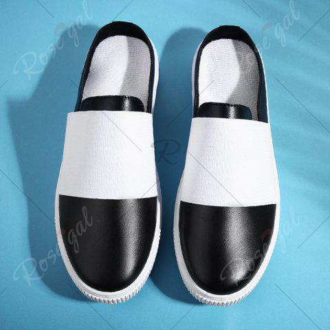New Faux Leather Elastic Band Casual Shoes - 40 BLACK Mobile