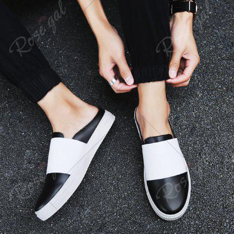 Latest Faux Leather Elastic Band Casual Shoes - 40 BLACK Mobile