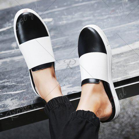 Outfits Faux Leather Elastic Band Casual Shoes - 40 BLACK Mobile