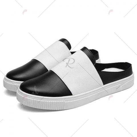Buy Faux Leather Elastic Band Casual Shoes - 40 BLACK Mobile