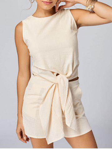 Shops Knotted Sleeveless Top and Shorts Set APRICOT XL