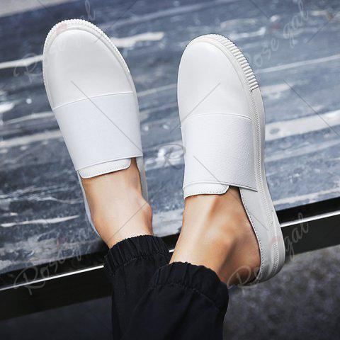 Buy Faux Leather Elastic Band Casual Shoes - 43 WHITE Mobile