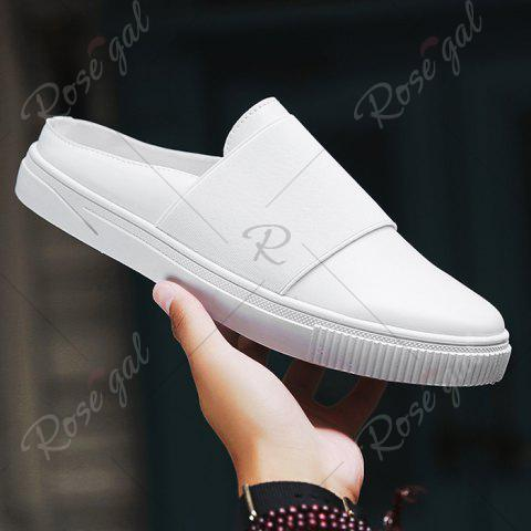 Best Faux Leather Elastic Band Casual Shoes - 43 WHITE Mobile