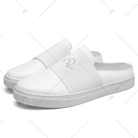Cheap Faux Leather Elastic Band Casual Shoes - 43 WHITE Mobile
