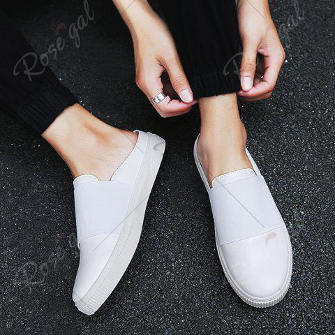 Trendy Faux Leather Elastic Band Casual Shoes - 43 WHITE Mobile