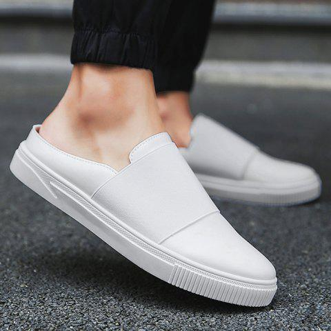 Fancy Faux Leather Elastic Band Casual Shoes - 43 WHITE Mobile