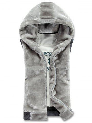 Buy Hooded Zip Up Rib Panel Faux Fur Waistcoat - M GRAY Mobile