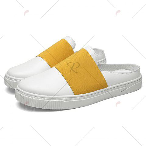Cheap Faux Leather Elastic Band Casual Shoes - 43 YELLOW Mobile