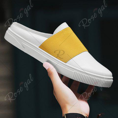 Fashion Faux Leather Elastic Band Casual Shoes - 43 YELLOW Mobile