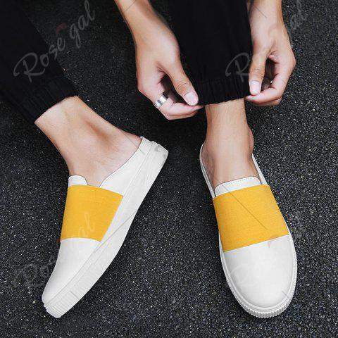 Latest Faux Leather Elastic Band Casual Shoes - 43 YELLOW Mobile