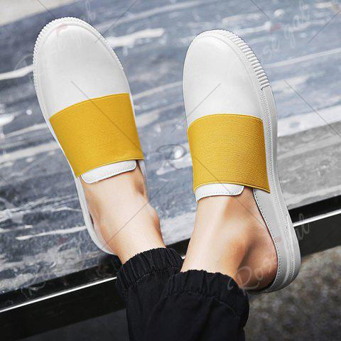 Buy Faux Leather Elastic Band Casual Shoes - 43 YELLOW Mobile